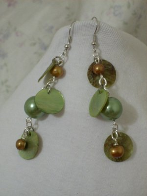 Green and Brownish Gold and Green Coin Shell Handmade Earrings