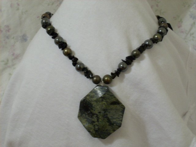 Dark Greenish Gold, Hematite, and Black Sandstone Chip Handmade Necklace with Gemstone Pendant