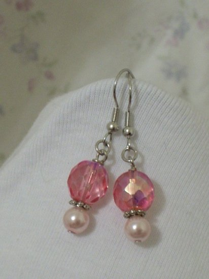 Light Pink Pearl and Pink Faceted Glass Beaded Handmade Earrings