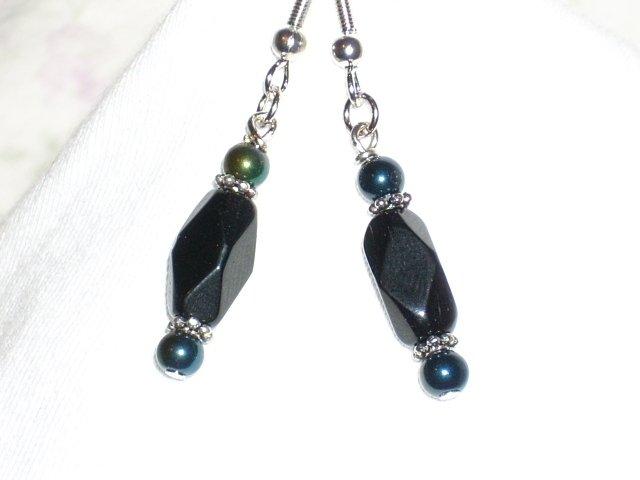 Black Glass Bead Handmade Earrings