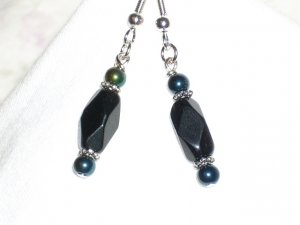 Black Glass Bead Handmade Earrings