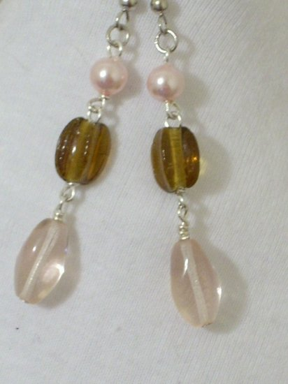 Czech Pink Crystal and brown glass bead Handmade Earrings