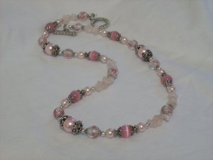 Handmade Pink Glass Beads with Silver Bead Cap Necklace