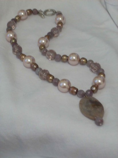 Amethyst and Creme Pearl Handmade Necklace