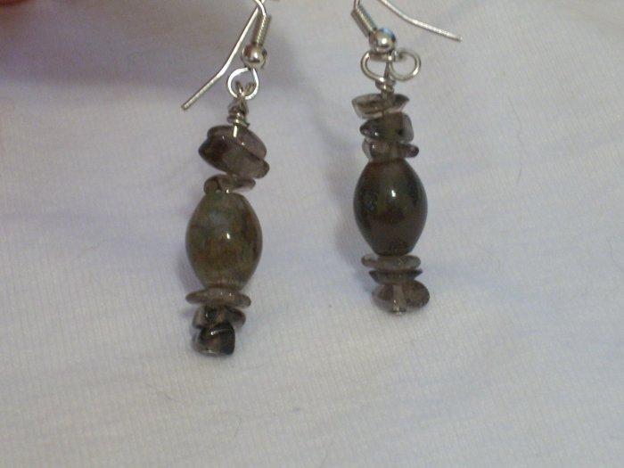 Bloodstone & Smokey Quartz Handmade Earrings
