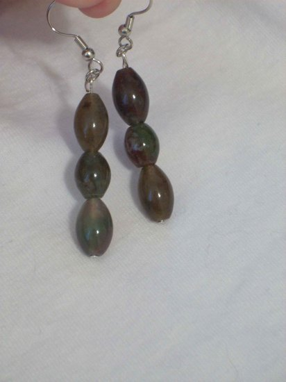 Handmade Bloodstone Bead Earrings
