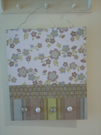 Flower Print Metal Message Board with Glass Magnets