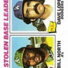 1977 Topps 4 Stolen Base Leaders/Bill North/Dave Lopes