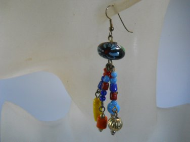 Beaded Glass Stone Dangle Earrings