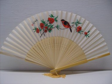 ASIAN CHINESE PAINTED FLORAL SILK & RED BIRD HAND FAN
