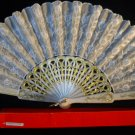 Asian White Embroidered Lace Hand Fan # 51
