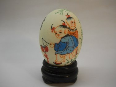 Vintage Chinese Kids on Egg Asian Eggs Hand Painted