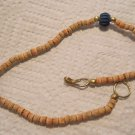 Wood bead Anklet with silver clasp wood hand carved