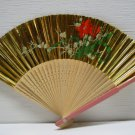 ASIAN HAND PAINTED GOLD FLORAL HAND FOLDING FAN # 37