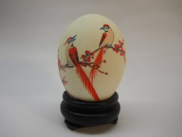 Vintage Asian Hand Painted Egg with Red Birds