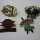 LABEL PINS HAT PINS 4 PC LOT COLLECTIBLE PINS SPORTS