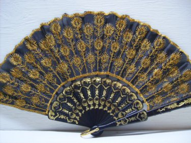 Asian Gold Black Lace Embroidered Hand Fan #53