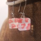 Glass Hand made Pink Design Earrings with Wires