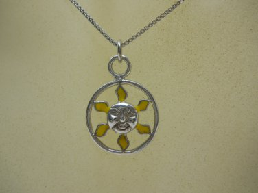 Sterling Silver Crafted 925 Sun  Charm Necklace