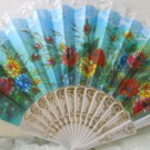 White Embroidered Floral Lace Folding Hand Fan Asian n116