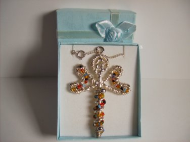 Hand Made Silver Beaded Butterfly Swirl Cross Necklace