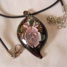 Glass Flower Necklace Murano Lampwork Hand Made n183