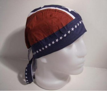Red, White & Blue Confederate Rebel Wrap Hat Bandana Durag