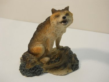 Vintage Wolf Howling on Rock Hand painted #621