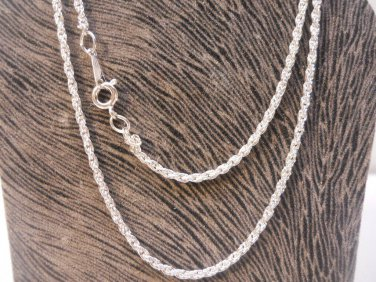 "Korean Silver 2 mm Rope Chain 18""  New Vintage"
