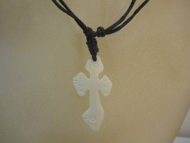 Cross Carved Bone Stone Fashion Necklace