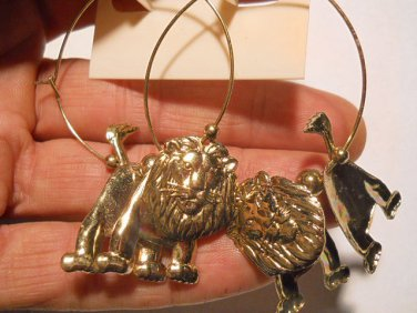 Gold Hoop Puzzle Lion Fashion Earrings FJW504
