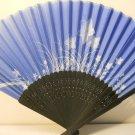 Blue Floral Silk Handheld hand Fan Folding Fans Asian Hand Fan #Fan164