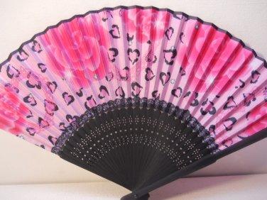 Roses with Hearts Silk Handheld hand Fan Folding Fans Asian Hand Fan #Fan163