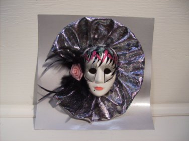 Porcelain Lace Mask with Feathers Foil & Pink Flower #32