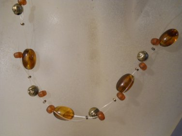 "Beautiful Glass Beaded 16 ""  Necklace  Hand Made Crafted n232"