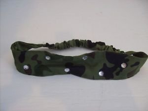 Camo Green Head Band with Gemstones Headband
