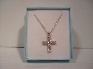Beautiful Austrian Crystal Cross 10 Stone Crystal Silver Necklace with Chain