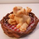 Pig and Piglets in Basket Figurine