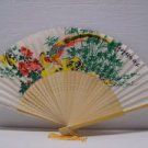 Asian Painted Floral Silk Fan & Birds Folding Hand Fans New Vintage