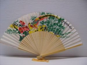 Asian Painted Floral Silk Fan & Birds Folding Hand Fans New Vintage