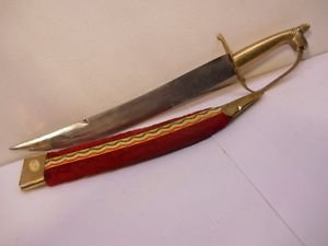 Red Velvet Brass Knife with sheath Vintage
