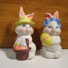 Bunny Bunnies w/Eggs 2 pc Set Easter Hand Painted