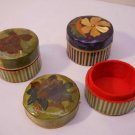 Trinket Box 3 Pc Wood Flower Box Set