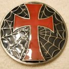 Cross Belt Buckle with Spider Web  BB102