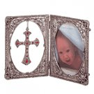 PEWTER FRAME CROSS ORNAMENT