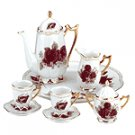 10 PEICE CERAMIC ROSES TEA SET
