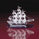 SPUN GLASS SAIL BOAT BLUE BASE