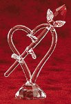 CUT GLASS RED ROSE HEART BASE