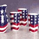 5PC PATRIOTIC PITCHER WITH TUMBLERS
