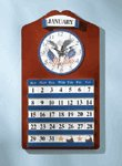 WOOD EAGLE FLAG CLOCK CALENDAR
